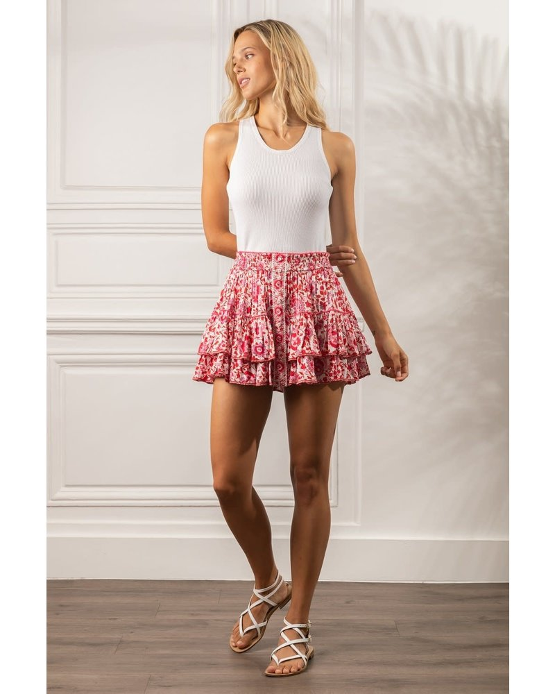 Poupette St Barth Mini Skirt Camila Ruffled V PR White Red Celery R21