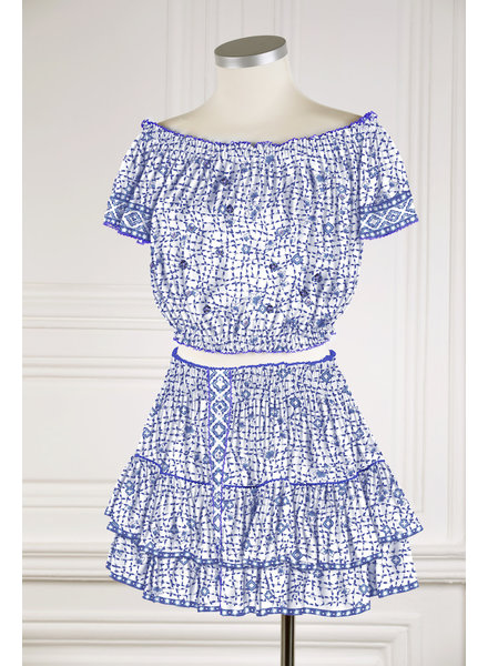 Poupette St Barth Mini Skirt Camila Ruffled V PR Blue Flower Net FTB R21