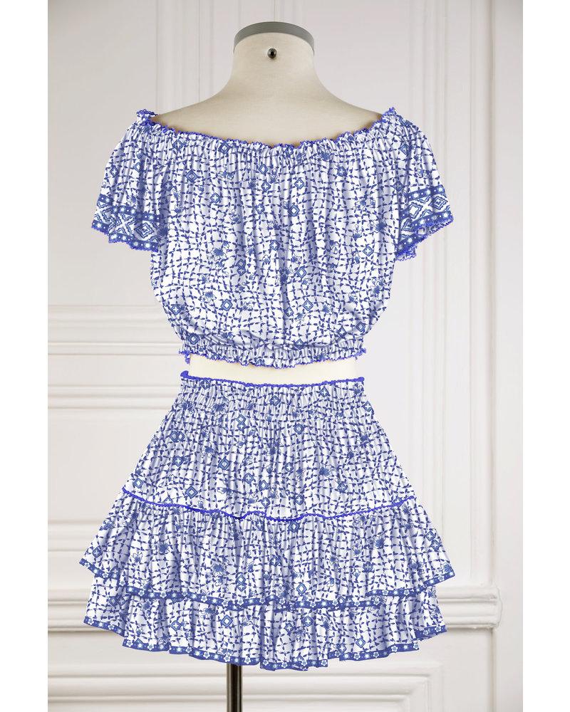 Poupette St Barth Mini Skirt Camila Ruffled V PR Blue Flower Net FTB R21