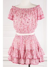 Poupette St Barth Mini Skirt Camila Ruffled V PR Pink Flower Net  R21