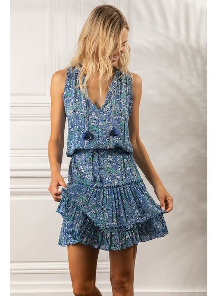 Poupette St Barth Mini Dress Clara Ruffled V PR Blue Malva R21