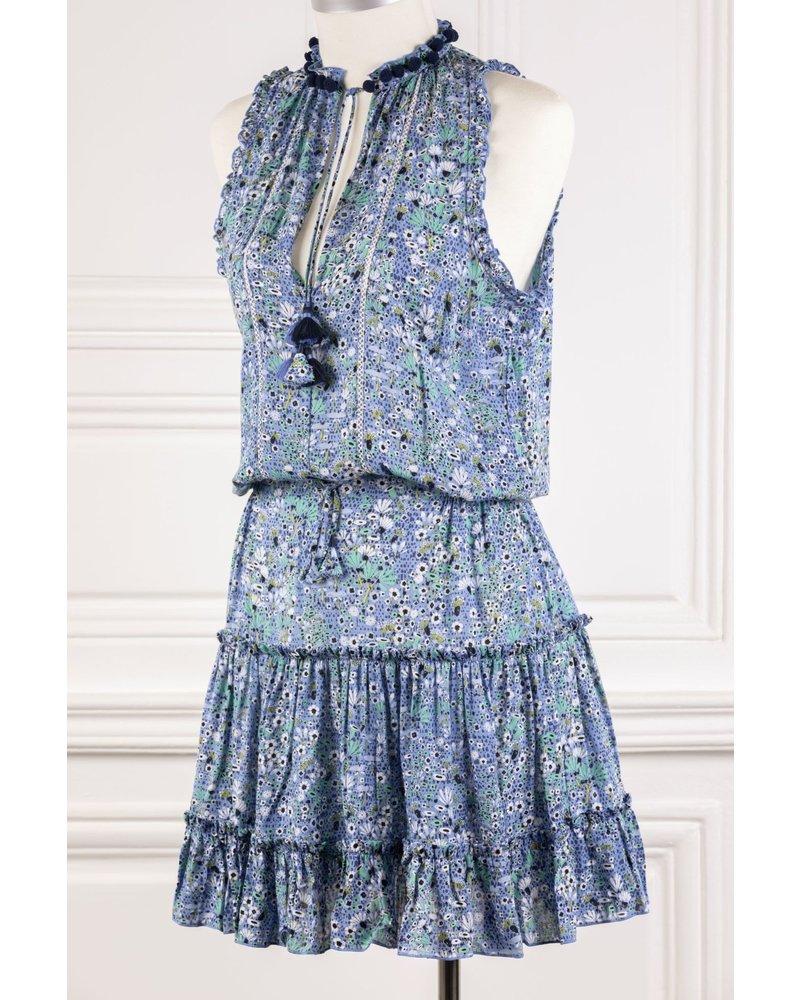 Poupette St Barth Mini Dress Clara Ruffled V PR Blue Malva R21
