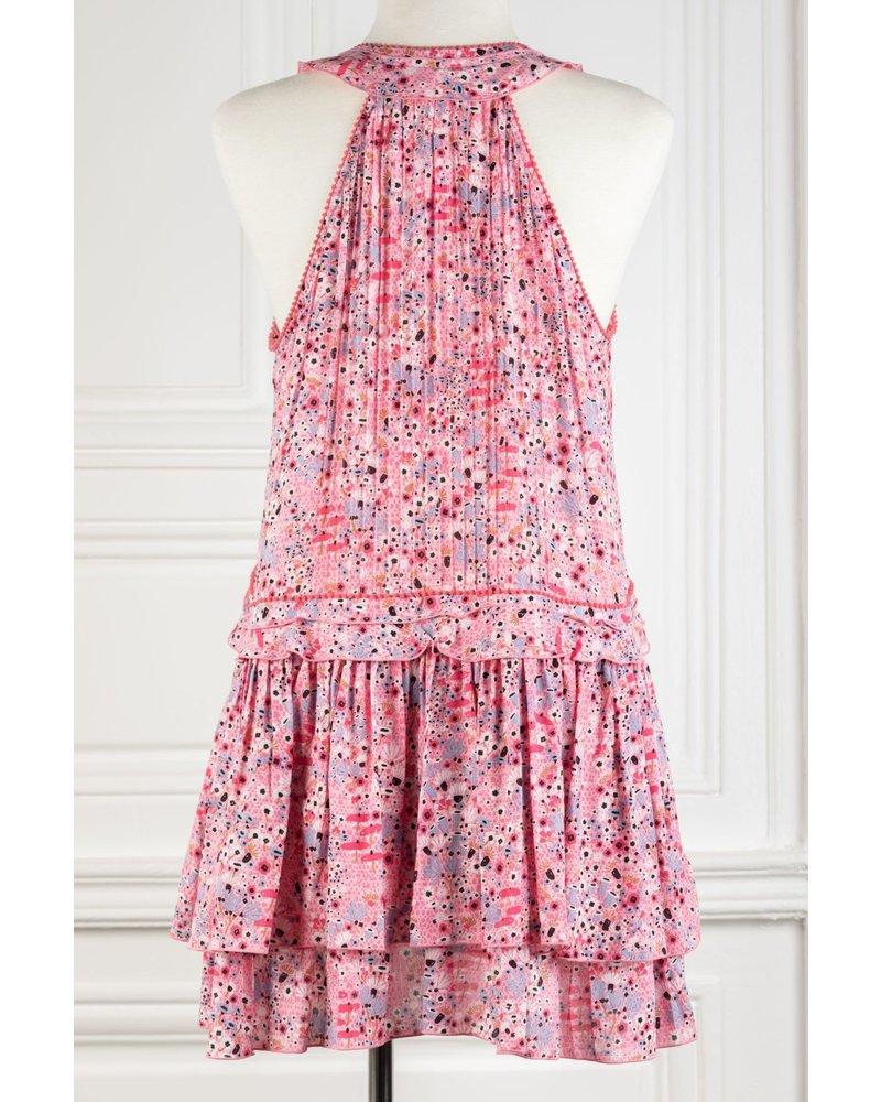 Poupette St Barth Mini Dress Mae Ruffled V PR Pink Malva R21