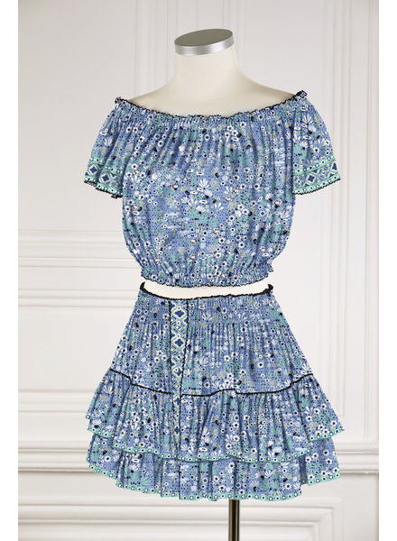 Poupette St Barth Mini Skirt Camila Ruffled V PR Blue Malva R21