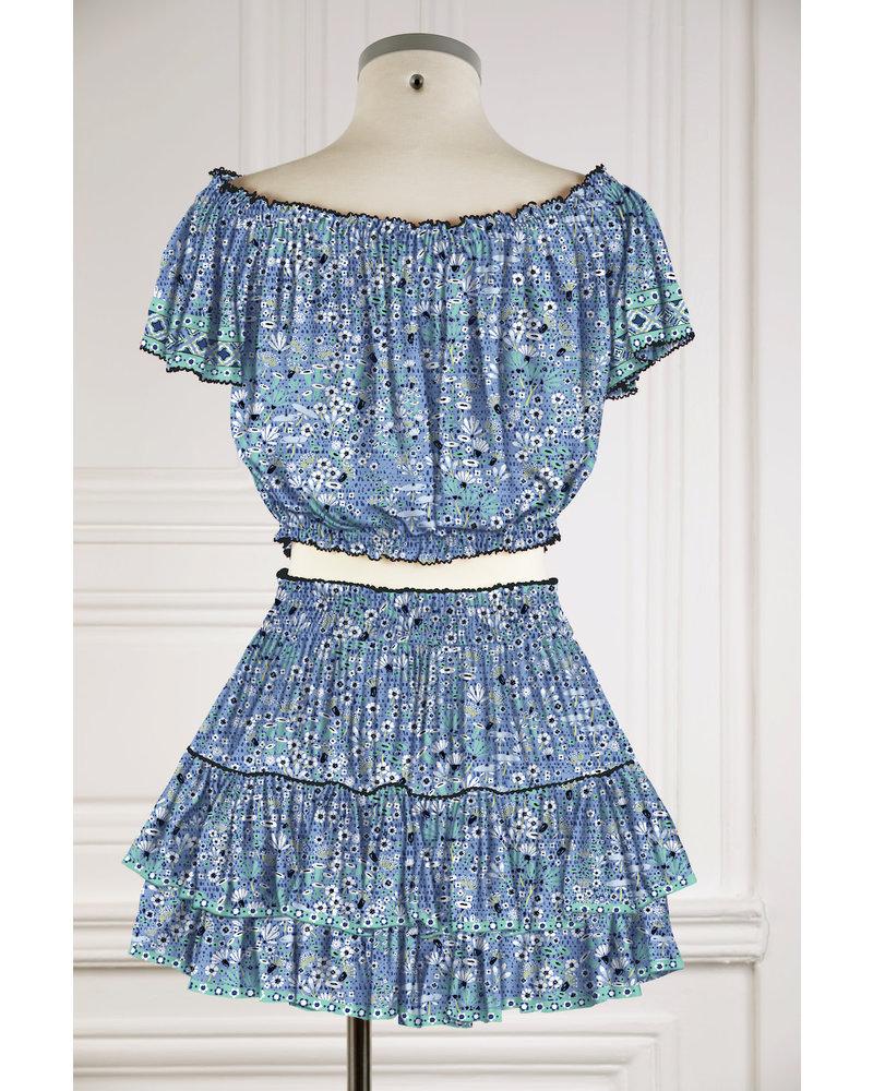 Poupette St Barth Mini Skirt Camila Ruffled V PR Blue Malva R21