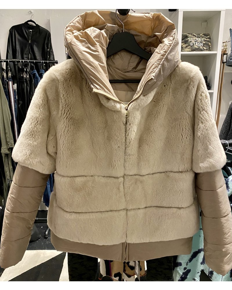 Linda Richards Rex Rabbit and Down Zip Up Jacket with Hood CHAMPAGNE 9901 F20