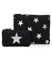 Hi Love Travel Black with Multi Silver Stars - 2 Set