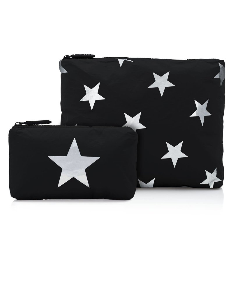 Hi Love Travel Black with Multi Silver Stars - 2 Set