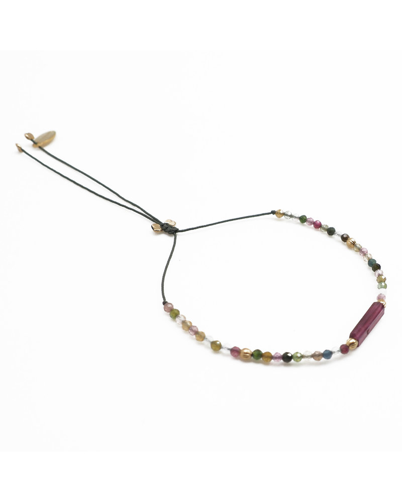By Johanne DH001 Island Girl - 1 pink tourmaline and all over tourmaline stones cord bracelet