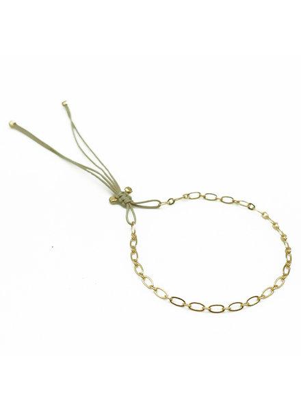 By Johanne ART5286 Granny  - Mini gold plated oval link cord bracelet