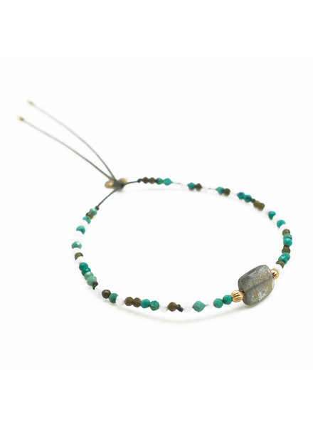By Johanne ART5829 Super Green - 1 labradorite stone and all over blue lace, khaki cat's eye and turquoise stones cord bracelet