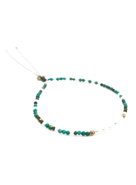 By Johanne ART5833 Super Green - 5 pearls and all over blue lace, khaki cat's eye and turquoise stones cord bracelet