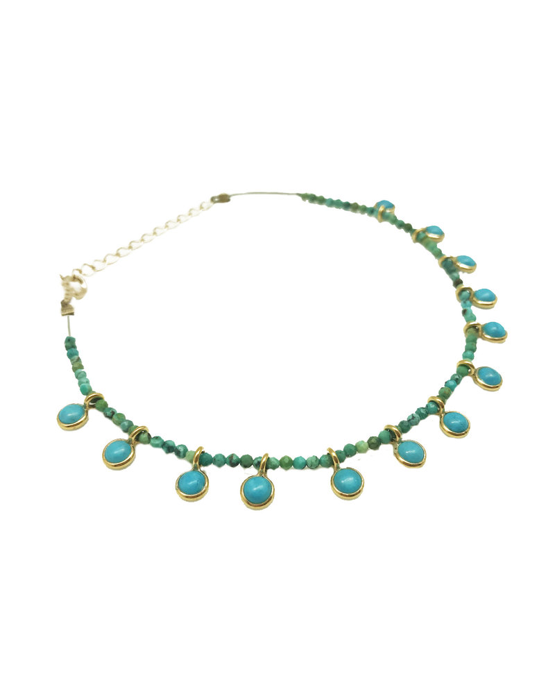 By Johanne ART3858 India Gate - 13 turquoise pendants and all over turquoise stones cord anklet