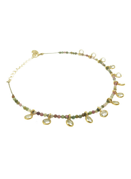 By Johanne ART3856 India Gate - 13 pink quartz pendants and all over tourmaline stones cord anklet
