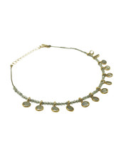 By Johanne ART3855 India Gate - 13 labradorite pendants and all over labradorite stones cord anklet