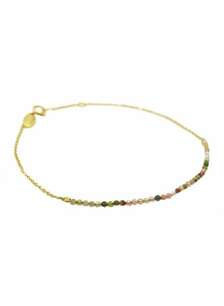 By Johanne ART4029 New Tiny - Tourmaline stones gold plated chain anklet