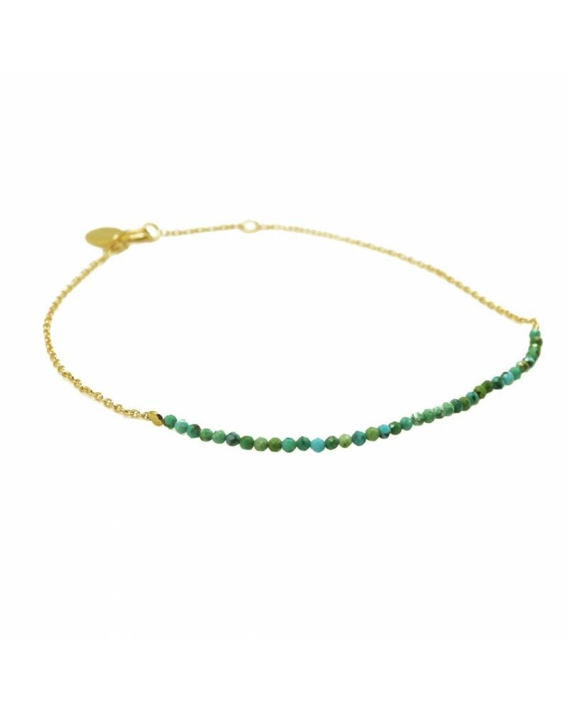 By Johanne ART3588 New Tiny - Turquoise stones gold plated chain anklet
