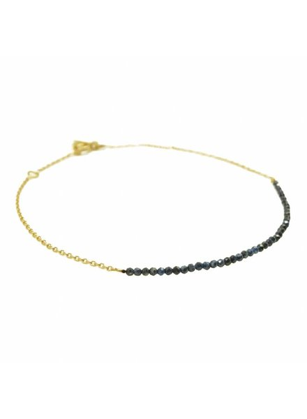 By Johanne ART4028 New Tiny - Sapphire stones gold plated chain anklet