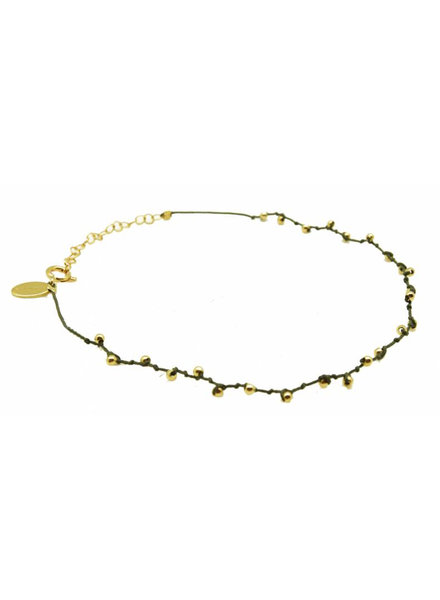 By Johanne ART3495 Ibiza - Gold plated beads cord Anklet
