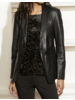 Ecru Leather Blazer with Whipstitch Black F20