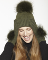 Linda Richards HA 62 Mohair/Wool pom hat Olive Green