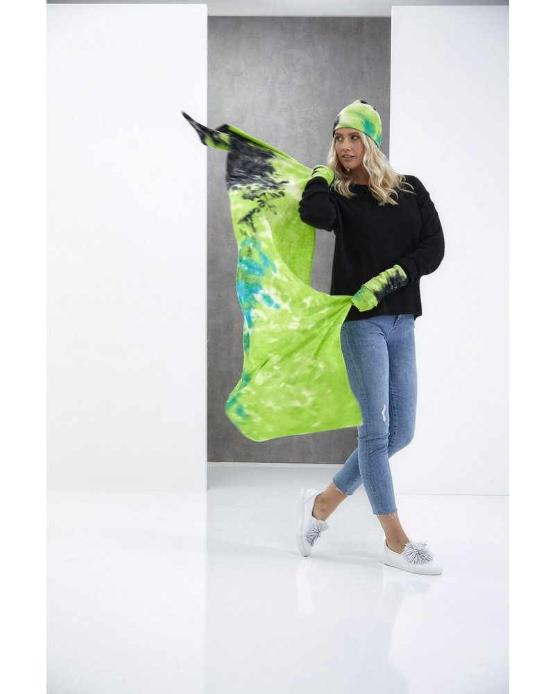 Brodie Dillan Tie Dye Evie Scarf Organic White, Green and Black H20