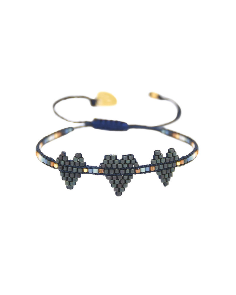 Mishky Triple Heartsy Row-BE-XS-9036 Blue Metal Copper Turquoise White