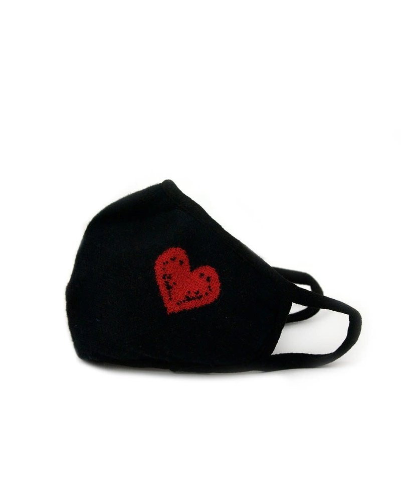 Marlyn Schiff Adult Knit Mask Black Red Heart