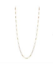"""Marlyn Schiff 1356N Gold 36"""" Paper Clip Pave Link Necklace"""