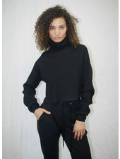 The Range Stark Jumbo Waffle Knit Cropped Turtleneck Jet Black F20