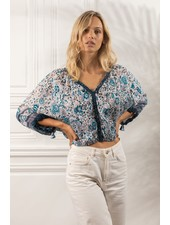 Poupette St Barth Top Blouse Ariel Pleated White Navy Celery R21