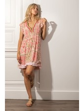 Poupette St Barth Mini Dress Sasha Lace Trimmed Pink Foulard R21