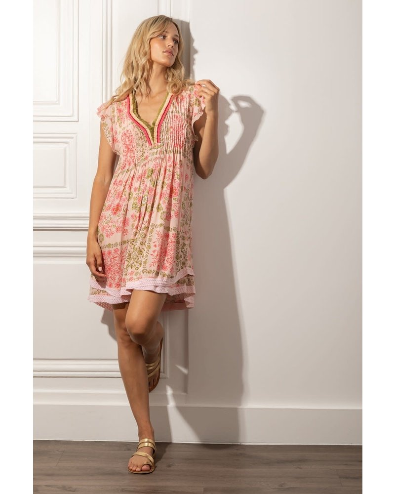 Poupette St Barth Mini Dress Sasha Lace Trimmed Pink Foulard R21