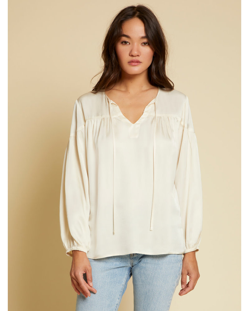 Nation Rochelle Shirred Peasant Top  Cream H20