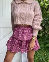 Love Shack Fancy Ruffle Mini Skirt Cherry Wine R21