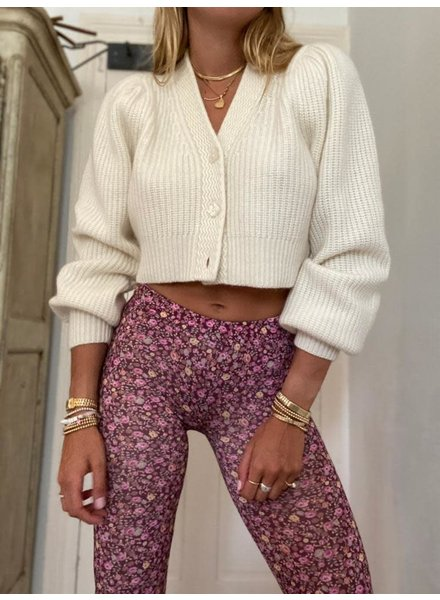 Love Shack Fancy Avignon Cropped Cardigan Cream R21