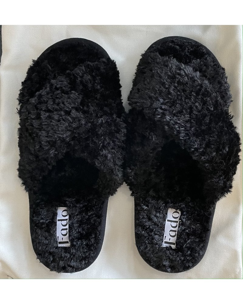 Fado Faux Shearling Slippers Black