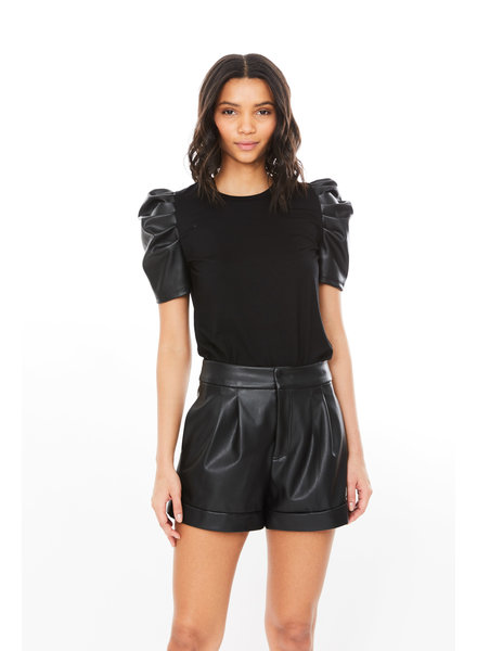 Generation Love Penny Vegan Leather Top Black R21