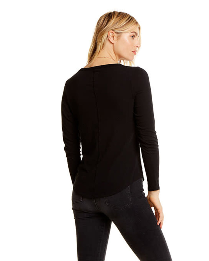 Chaser Cotton Basics L/S Crew Neck Seamed back Shirttail Tee True Black F20