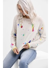 Brodie Shout Out Mini Sweat Organic White, Rainbow Foil Print SS21