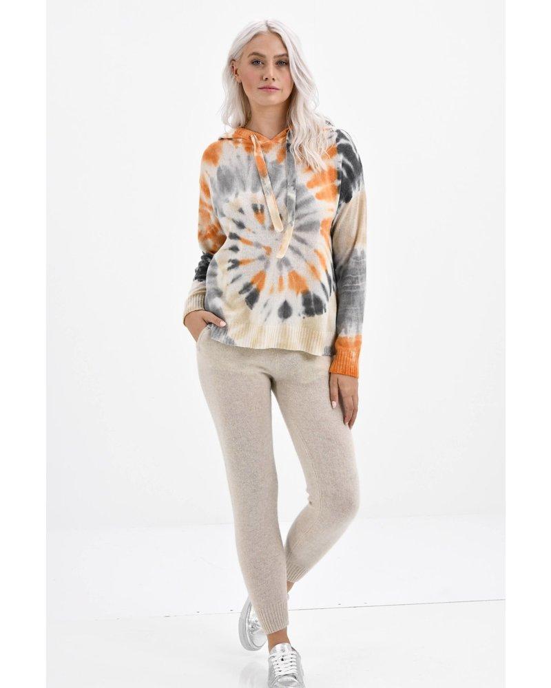 Brodie Sahara Hoodie Organic White Tie Dye Print in Cream, Camel, Orange SS21