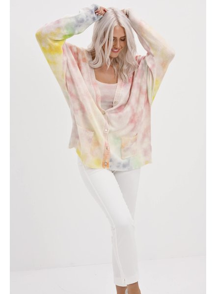 Brodie California Oversized Cardi Organic White Tie Dye Pring in Lemon, Mint, Arctic Blue SS21