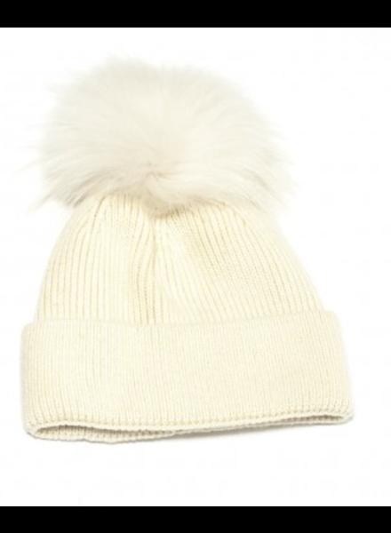 Linda Richards HA-41 Angora Blend Pom Hat Cream