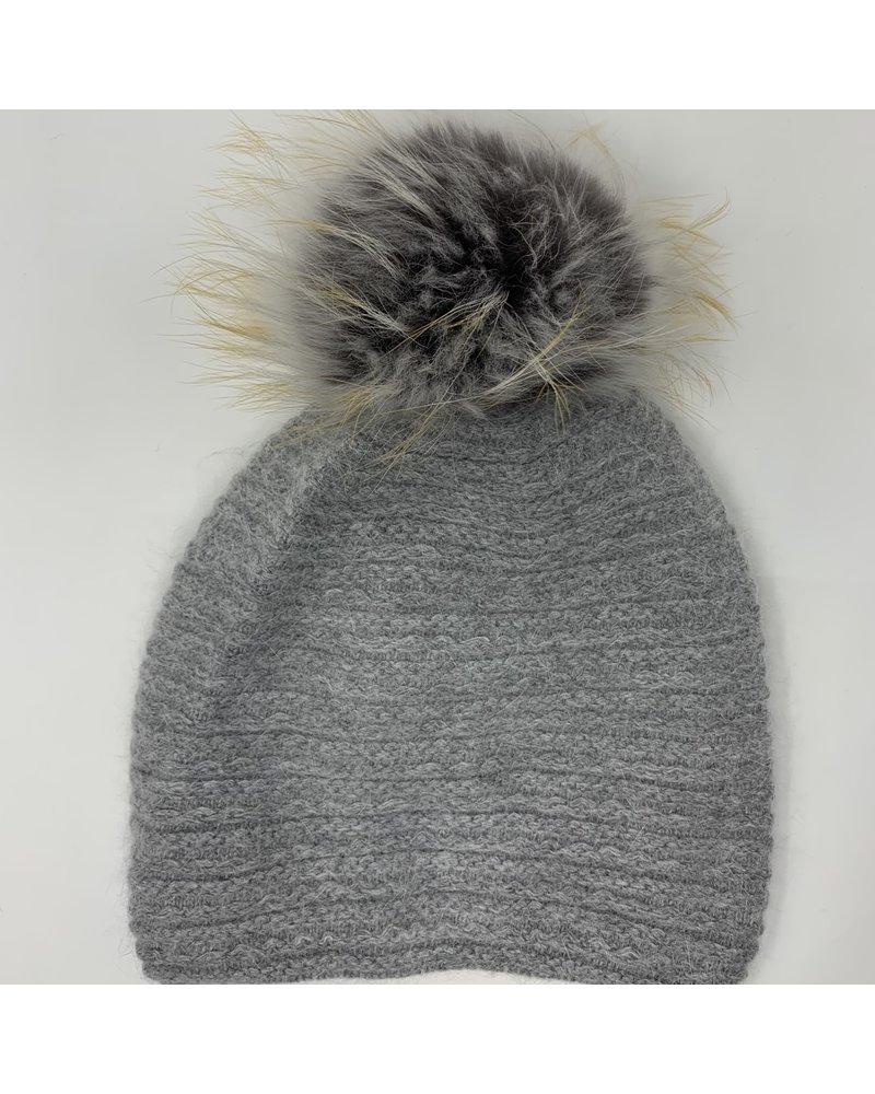 Linda Richards HA-73 Braided Weave Pom Hat Dove Grey