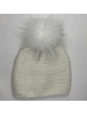 Linda Richards HA-73 Braided Weave Pom Hat White