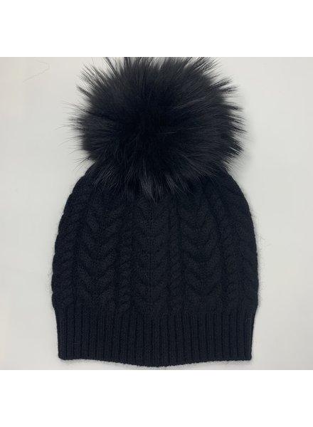 Linda Richards HA-96 Cashmere Cable Hat Black