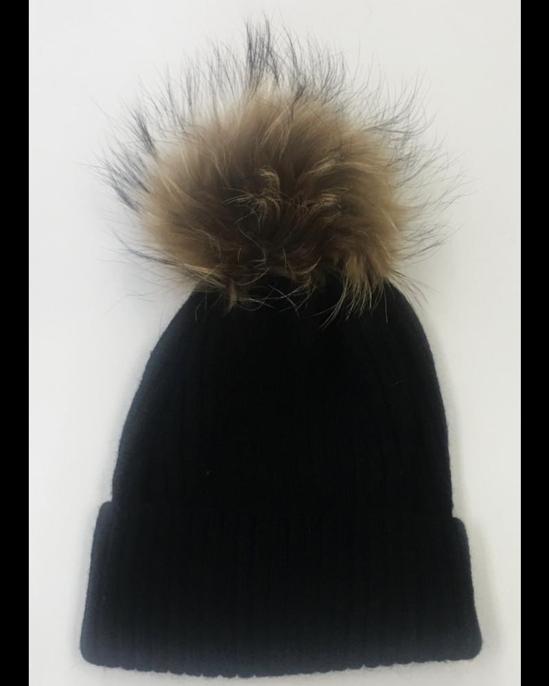 Linda Richards HA-11 Rib Hat Black with Pom
