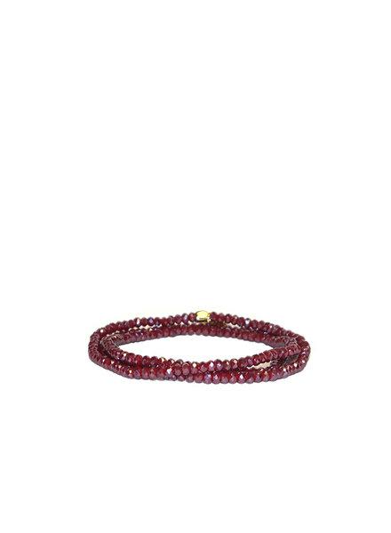 Marlyn Schiff Mini Beaded Stretch Bracelet Wine