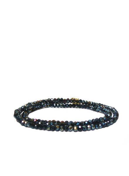 Marlyn Schiff Mini Beaded Stretch Bracelet Jet Ab