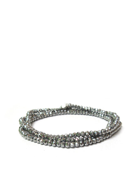 Marlyn Schiff Mini Beaded Stretch Bracelet Silver